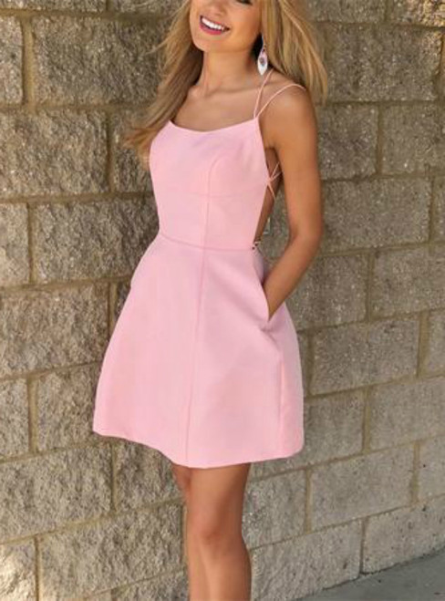 A-line Pink Cross Back Satin Short Homecoming Dresses