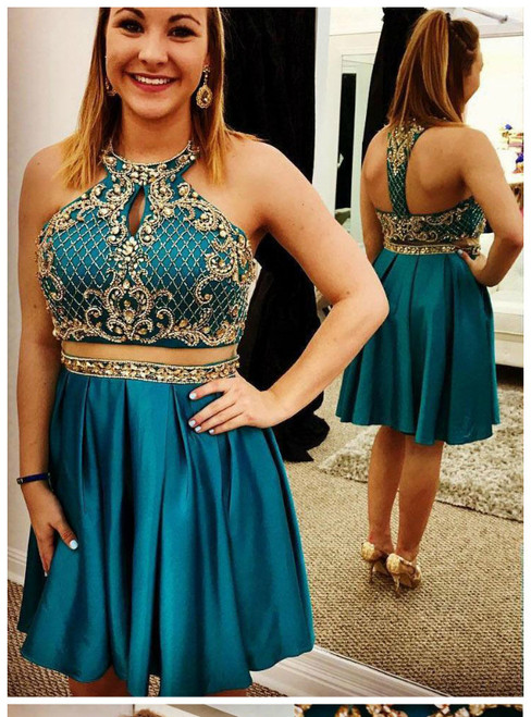 Blue Two Piece Satin Backless Homecoming Dress With Beading