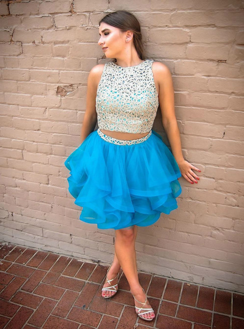 Two Piece Short Blue Tulle Lace Homecoming Dress