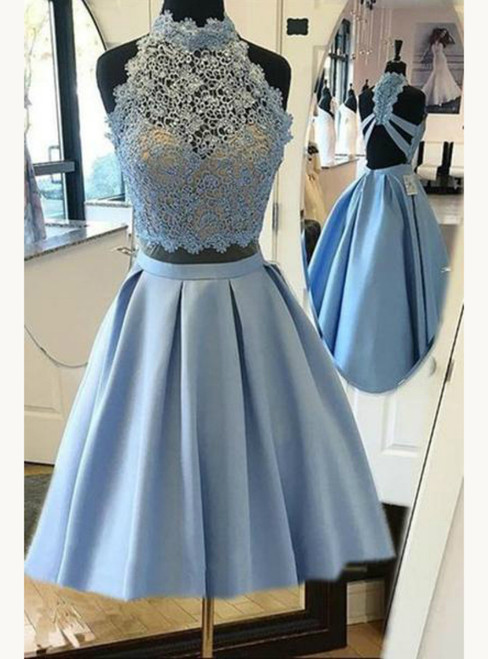 Sky Blue Halter Satin Two Piece Open Back Homecoming Dresses
