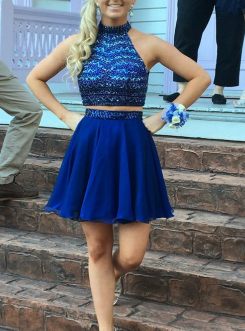 Two Piece Royal Blue Chiffon Backless Short Homecoming Dress