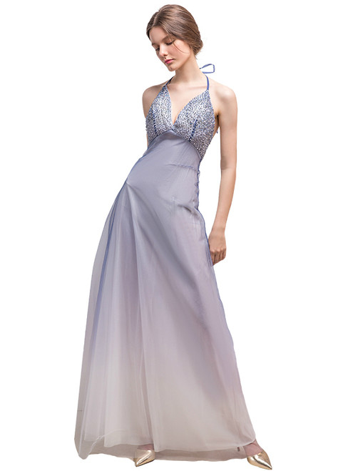 In Stock:Ship in 48 hours Allure See Through Halter Tulle Prom Dress
