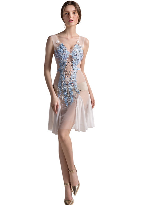In Stock:Ship in 48 hours White Allure See Through Prom Dress