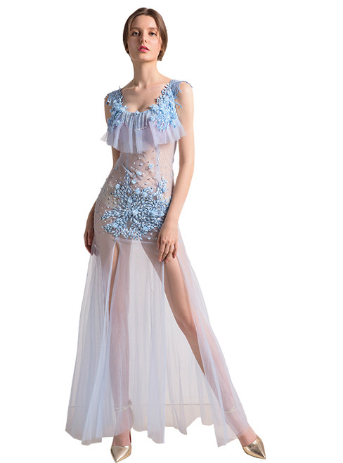 In Stock:Ship in 48 hours White Allure See Through Crystal Prom Dress