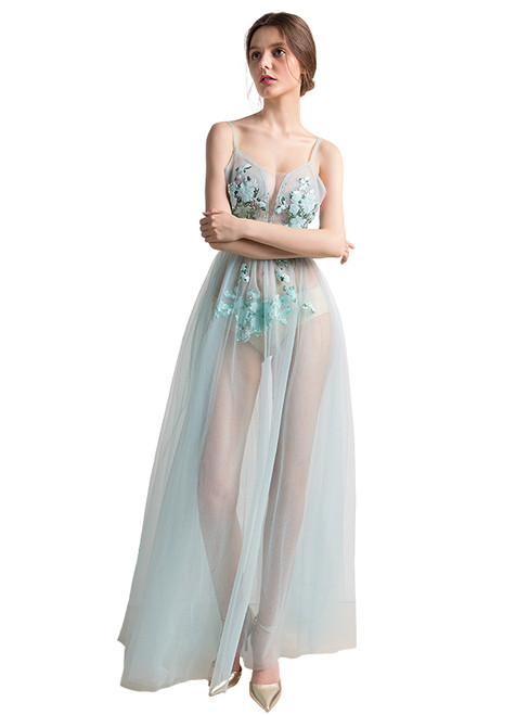 In Stock:Ship in 48 hours Light Blue Tulle  Allure See Through Prom Dress