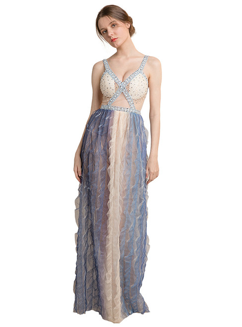 In Stock:Ship in 48 hours Blue Spaghetti Straps Allure See Through Prom Dress