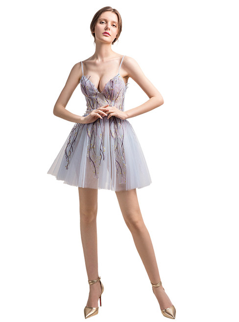 In Stock:Ship in 48 hours Short Spaghetti Straps Allure See Through Prom Dress
