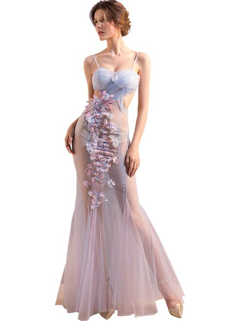 In Stock:Ship in 48 hours Blue Tulle Backless Allure See Through Prom Dress