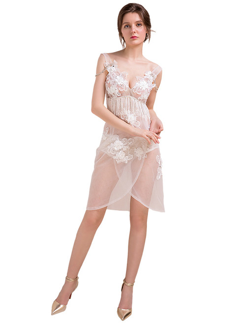In Stock:Ship in 48 hours White V-neck Allure See Through Prom Dress