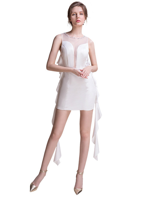 In Stock:Ship in 48 hours White Mini Allure See Through Prom Dress