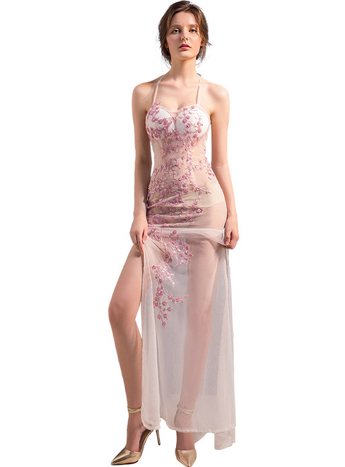 In Stock:Ship in 48 hours Pink Spaghetti Straps Allure See Through Prom Dress
