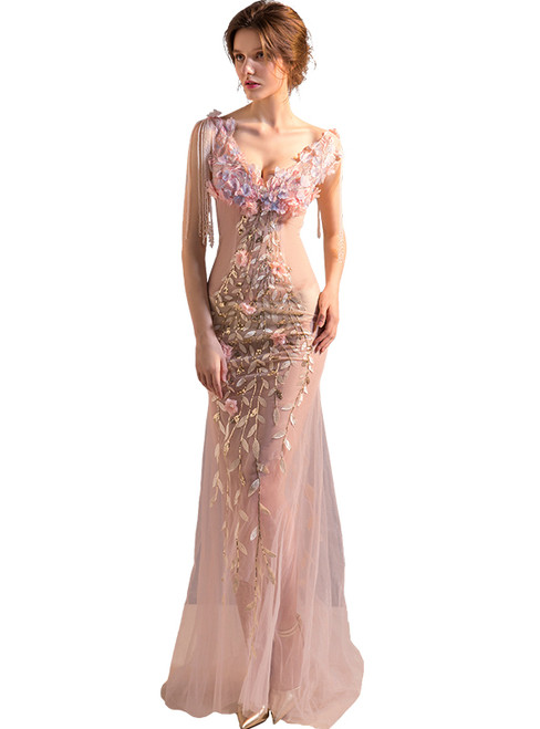 In Stock:Ship in 48 hours Pink Tulle Beading Allure See Through Prom Dress
