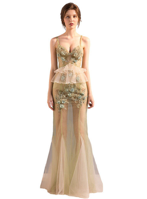 In Stock:Ship in 48 hours Champagne Tulle Allure See Through Prom Dress