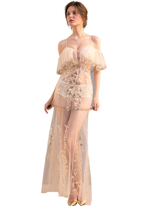 In Stock:Ship in 48 hours Pink Sequins Allure See Through Prom Dress