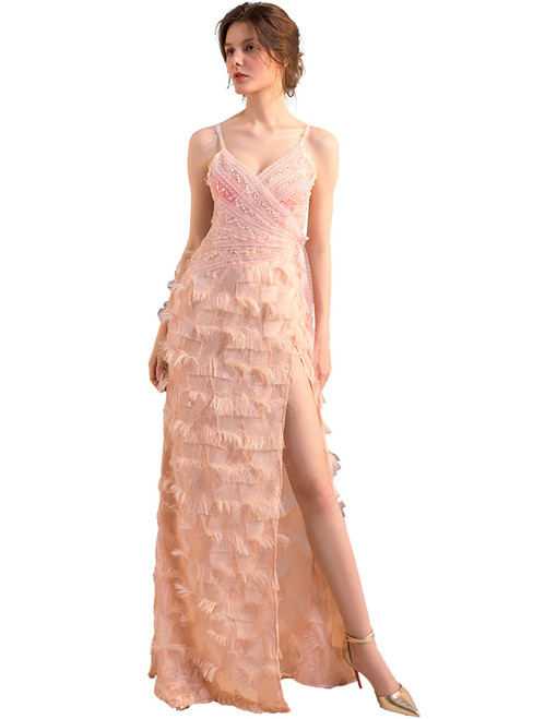 In Stock:Ship in 48 hours Pink Allure See Through Prom Dress
