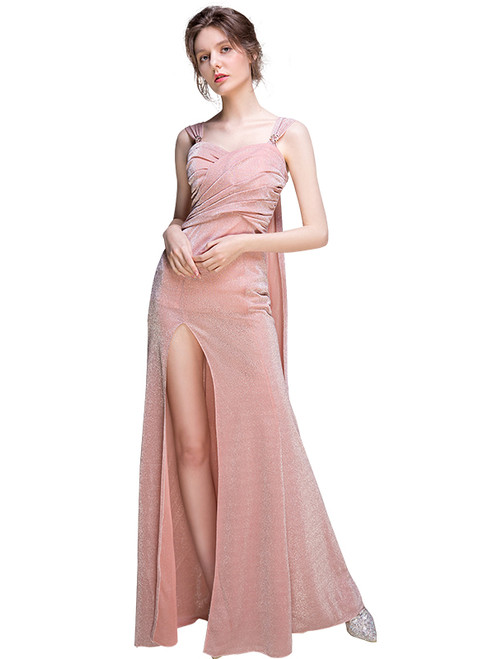 In Stock:Ship in 48 hours Pink Straps Allure See Through Prom Dress