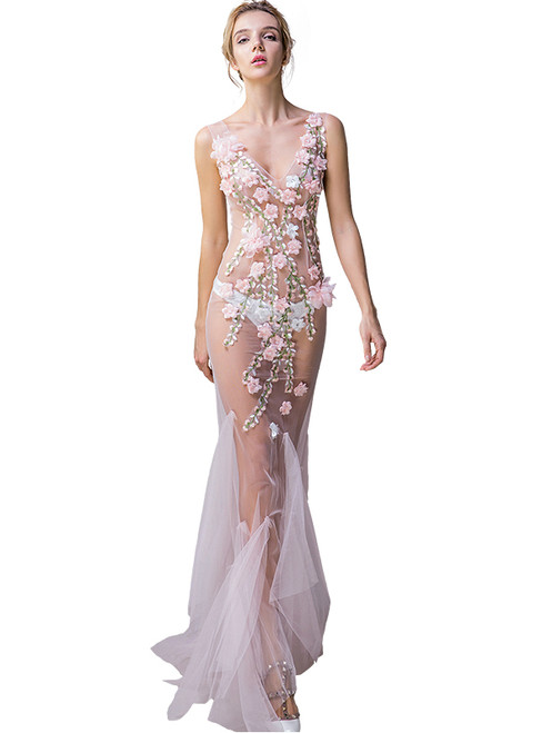 In Stock:Ship in 48 hours Pink Flower Allure See Through Prom Dress