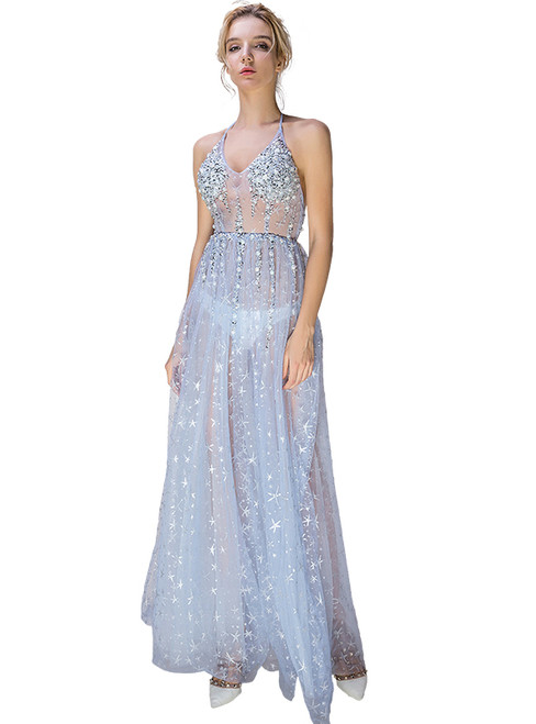 In Stock:Ship in 48 hours Blue Tulle Beading Allure See Through Prom Dress