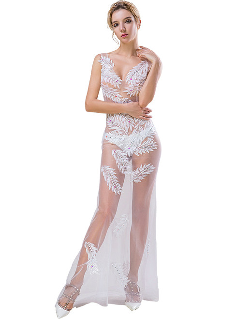 In Stock:Ship in 48 hours White Appliques Allure See Through Prom Dress