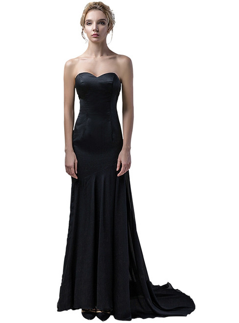In Stock:Ship in 48 hours Black Chiffon Allure See Through Prom Dress