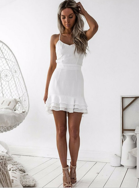 Sheath White Spaghetti Straps Short Homecoming Dress