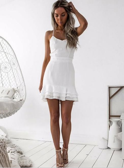 Sheath White Spaghetti Straps Short Homecoming Dress