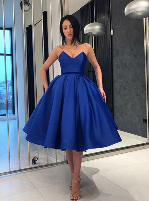 Blue Ball Gown Satin Sweetheart Homecoming Dress