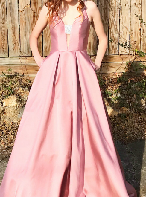 Pink Deep V-neck Satin Backless Prom Dress With Pocket