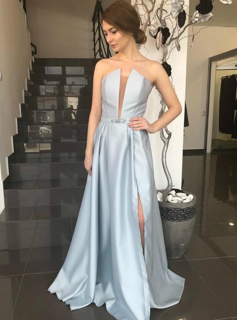 Blue A Line Plunging V Neck Satin Prom Dress With Side Slit