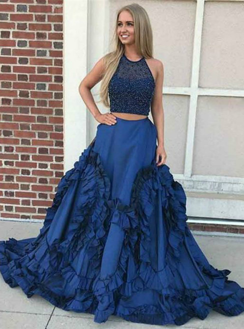A-Line Dark Blue Two Piece Satin Beaded Prom Dress With Ruffles