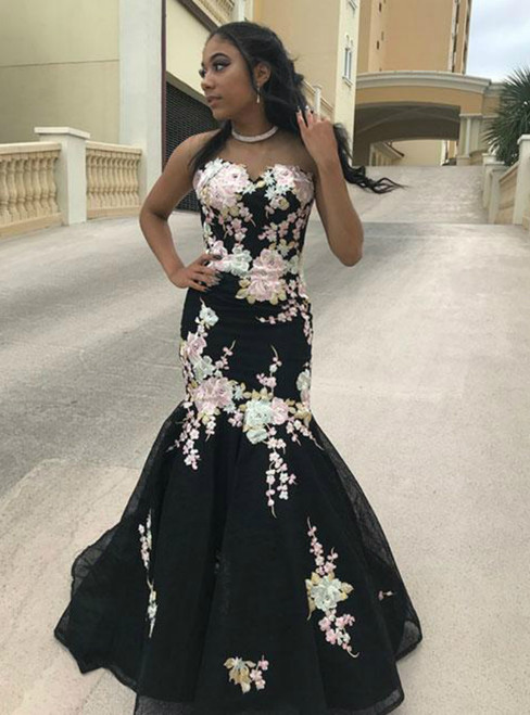 Black Mermaid Sweetheart Neck Tulle Appliques Prom Dress