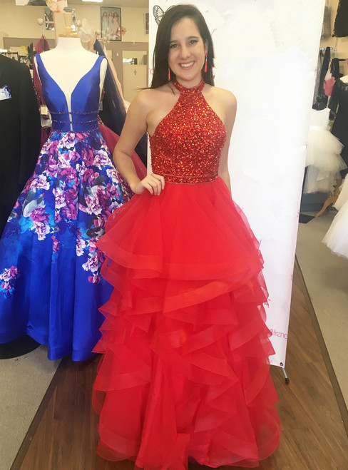 Red Ruffled High Neck Open Back Tulle Prom Dresses