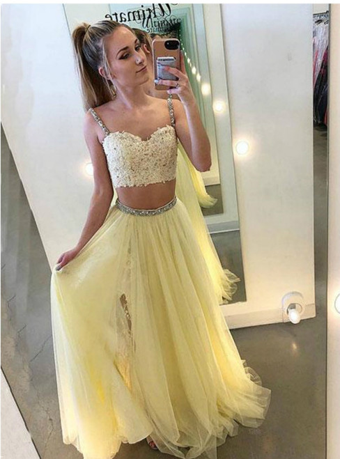 Yellow Tulle Two Piece Spaghetti Straps Backless Prom Dress
