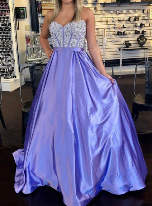 A-line Purple Sweetheart Neckline Prom Dresses With Beading