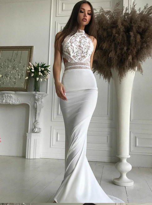 36c7b6960e47 White Lace Mermaid High Neck Open Back Prom Dress