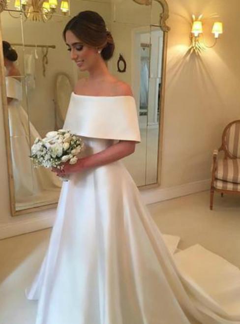 A-line Off The Shoulder Long Satin Wedding Dresses