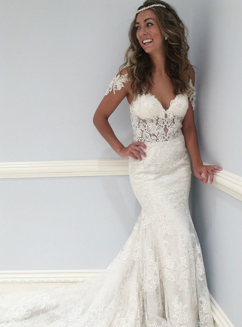 White Mermaid Backless V Neck Lace Long Wedding Dress
