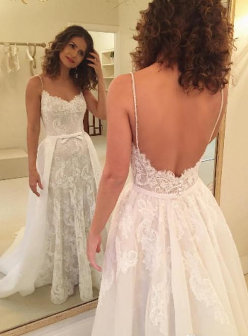 White Spaghetti Strap Lace Sheath Wedding Dress Featuring Overskirt