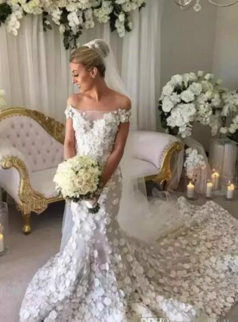 White Mermaid Off Shoulder Handmade Flowers Appliques Wedding Dress