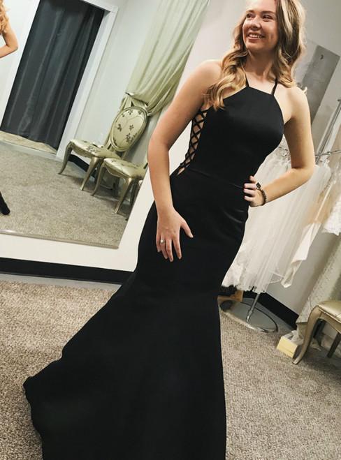 Black Mermaid Halter Satin Sleeveless Prom Dress