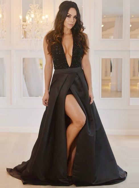 A-Line Deep V-Neck Backless Black Satin Beading Prom Dress
