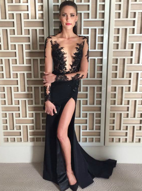 Sexy Black Lace Long Sleeve With Side Slit  Prom Dress