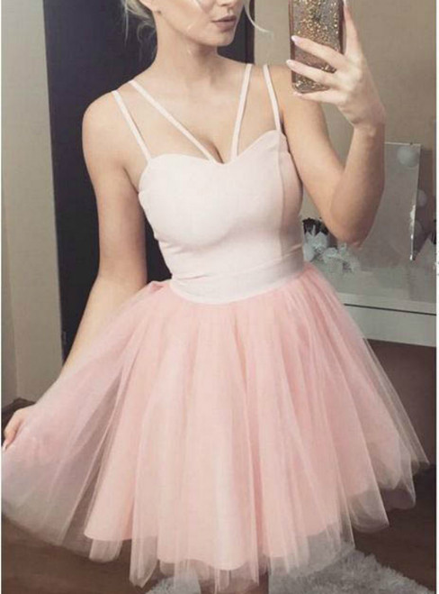 Pink Tulle Spaghetti Straps V-neck Backless Homecoming Dress