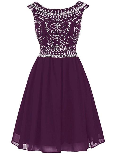 Burgundy Short Mini Chiffon Scoop Cap Sleeve Homecoming Dress