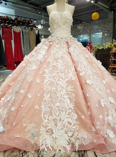Pink Ball Gown Strapless Backless Appliques Flower Wedding Dress