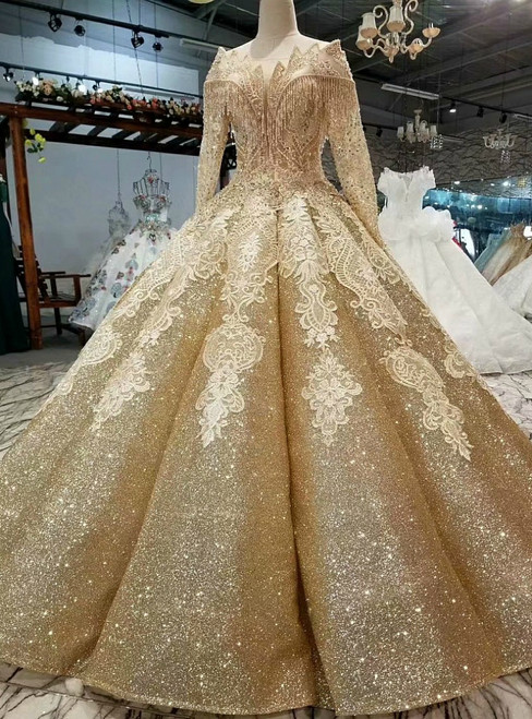 Gold Ball Gown Off The Shoulder Sequins Long Sleeve Wedding Dress
