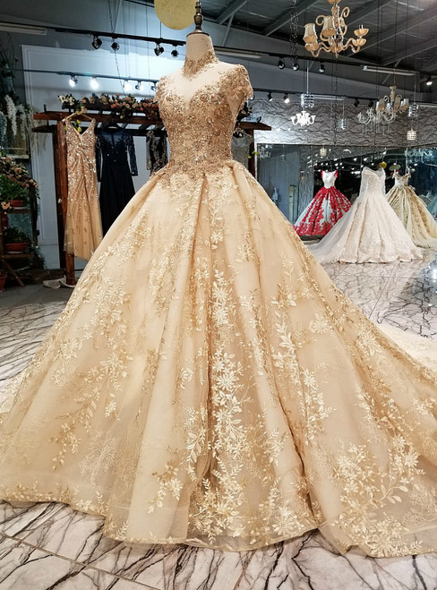 Gold Tulle High Neck Backless Appliques Beading Wedding Dress