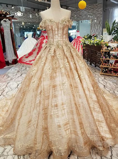 Gold Tulle Sequins Off The Shoulder Backless Appliques Wedding Dress