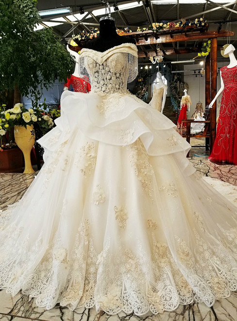 White Tulle Off The Shoulder Lace Appliques With Beading Wedding Dress