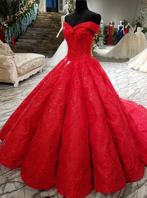 f69cffd81a Red Ball Gown Off The Shoulder Lace Sequins Train Wedding Dress